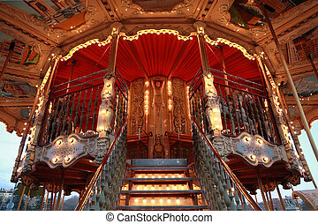 Carousel Horses on Traditional Fun Fair Ride in Paris,...