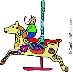 carousel kid - little boy on a carousel fairground ride -...