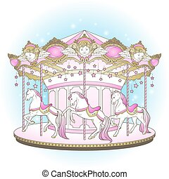 Carousel merry go round with horses - Carousel La Belle...