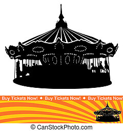 Carousel Ride Silhouette - An image of a carousel ride...