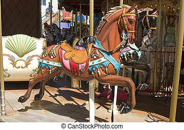 Carousel with brown horse panoramic in pier 39 San Francisco California
