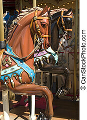 Carousel with brown horse portrait in pier 39 San Francisco California