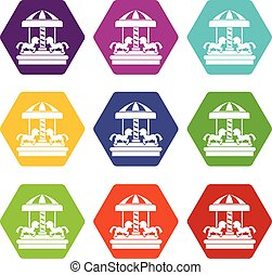Carousel with horses icon set color hexahedron