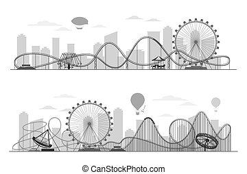 carousels, sylwetka, koło, nadajcie linię opływową park, ferris, krajobraz, rozrywka, zabawa, coaster, wałek