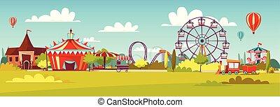 carousels, zmarszczenie, coaster, obserwacja, karuzela, atrakcje, cyrk, park, ilustracja, wektor, koło, rysunek, rozrywka