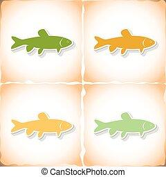 carp., antigas, peixe plano, papel, sombra, capim, adesivo