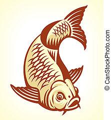 Carp Fish Cartoon. Vector illustration. Nice for logo, tattoo etc.