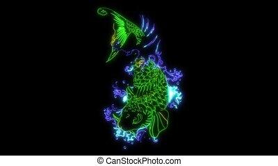 Carp fish in water video laser animation - Carp fish in ...