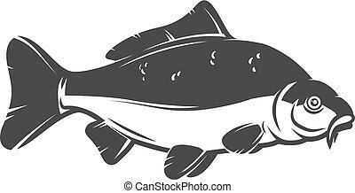 Carp fish isolated on white background. Design element for logo, emblem, sign, brand mark. Vector illustration
