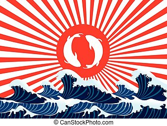 carp fish yin yang on red flag japanese with sea wave