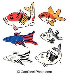Carp, Goldfish, Siamese Fighting Fish Set