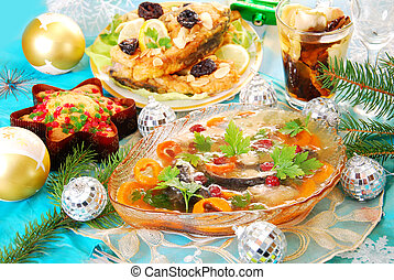 carp in jelly with carrot and cranberry for christmas - carp...