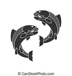 Carp japan fish isolated. folk asian koi vector illustration