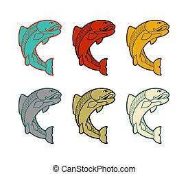 Carp japan fish set. folk asian koi vector illustration