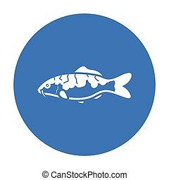 Carp-koi fish icon black. Singe aquarium fish icon from the...