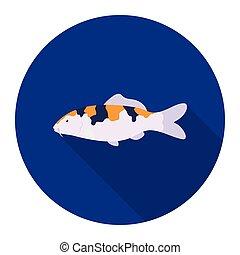 Carp-koi fish icon flat. Singe aquarium fish icon from the...