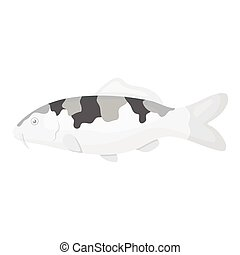 Carp-koi fish icon monochrome. Singe aquarium fish icon from...