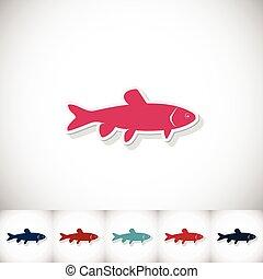 carp., peixe plano, fundo, sombra, capim, branca, adesivo