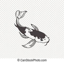 carp sketch on transparent background. Freehand Japanese carp tattoo