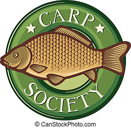 carp society symbol (carp society badge, carp fish emblem,...