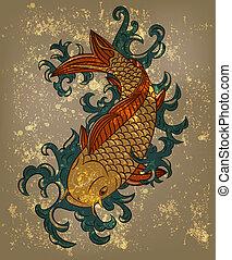 carpa de koi, japonés, vector, plano de fondo, grungy, pez