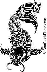 carpa koi, estilo, peixe, woodcut