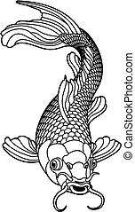 carpa koi, preto branco, peixe
