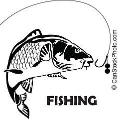 carpa, pez, y, cebo