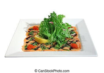 Carpaccio of salmon with red caviar