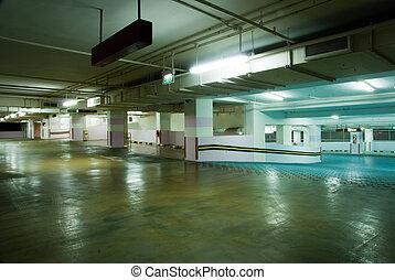 Interior of modern Underground Parking Lot Garage
