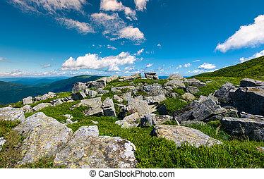 Carpathian alps with huge boulders on hillsides. beautiful...