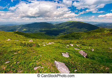 Carpathian alps with huge boulders on hillsides. beautiful...