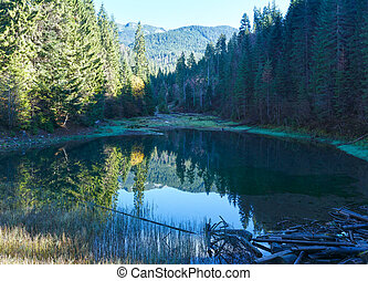 Carpathian mountain autumn landscape with lake.