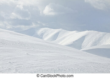 Carpathian mountain landscape. Panorama of Snow Mountain.