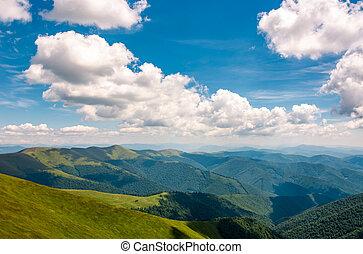 Carpathian mountain ridge under sky with clouds - Carpathian...