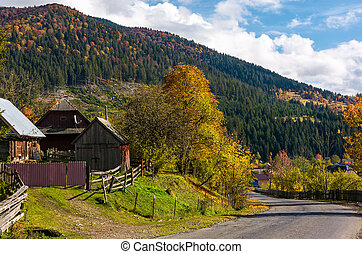Carpathian mountain village in autumn. lovely countryside...