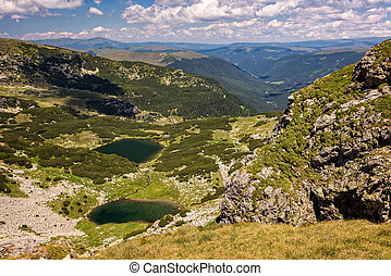 Carpathian mountains and glacial lakes in the summer
