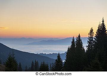 Carpathian Mountains before sunrise