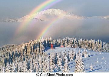 Carpathian mountains Christian monastery rainbow
