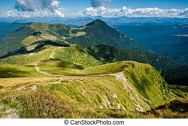 Carpathian mountains on the border of Ukraine