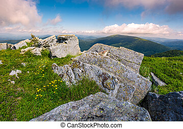 Carpathian mountains with grassy slopes and rocks. beautiful...