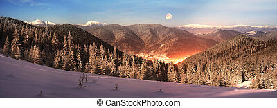 Carpathian Ukraine night village