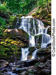 Carpathian waterfall Shypot in the morning. beautiful nature...