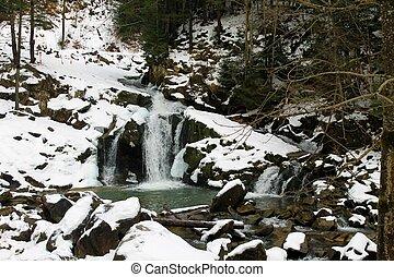 Carpathian winter waterfall