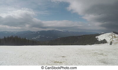 Carpathian's mountains in winter - panorama of the mountain...