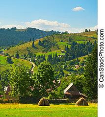 Carpathians mountains village landscape Ukraine - View of ...
