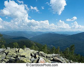 Carpathians mountains, west Ukraine. Pile of grey natural...