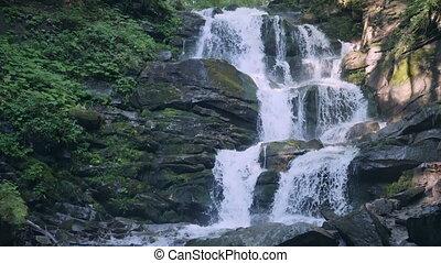 Carpatian waterfall Shipot, Pylypets, Podobovets,Ukraine -...