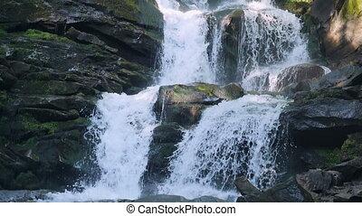 Carpatian waterfall Shipot slow motion, Pylypets,...