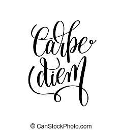 carpe diem black and white hand written lettering positive...